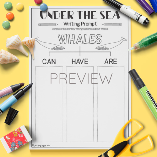 ESL English Whales Can Have Are Activity Worksheet