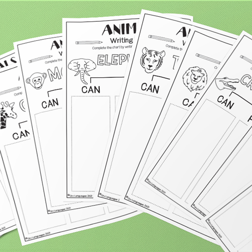 ESL English Wild Animals Can Have Are Activity Worksheet