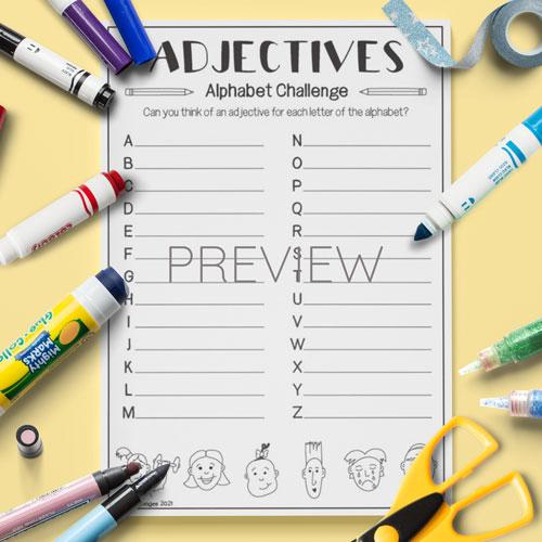 ESL English Kids Adjectives Alphabet Challenge Activity