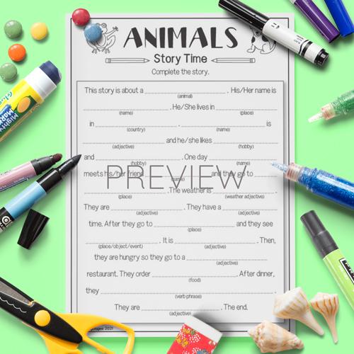 ESL English Kids Animals Gap Fill Story Worksheet