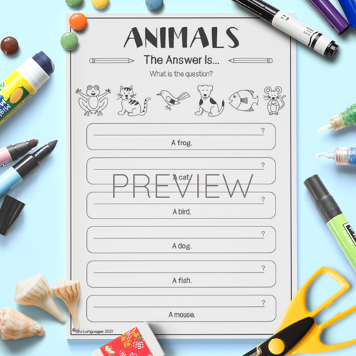 ESL English Kids Animals What Is The Question Activity Worksheet