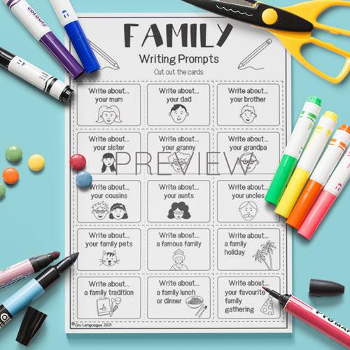ESL English Kids Family Writing Prompts Worksheet