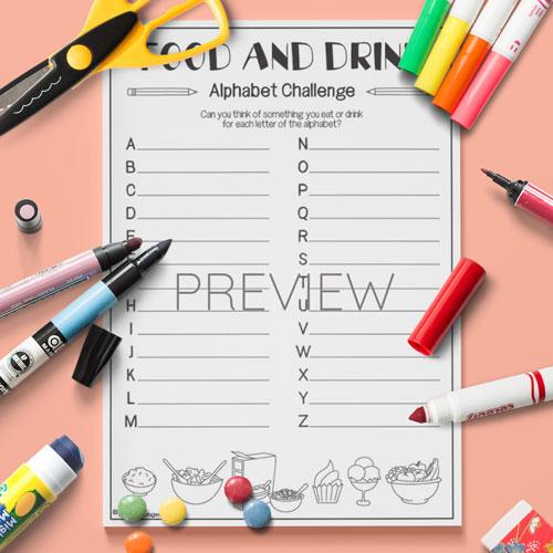 ESL English Kids Food Drink Alphabet Challenge Activity