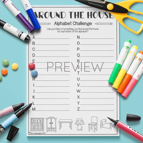 ESL English Kids House Furniture Alphabet Challenge Activity
