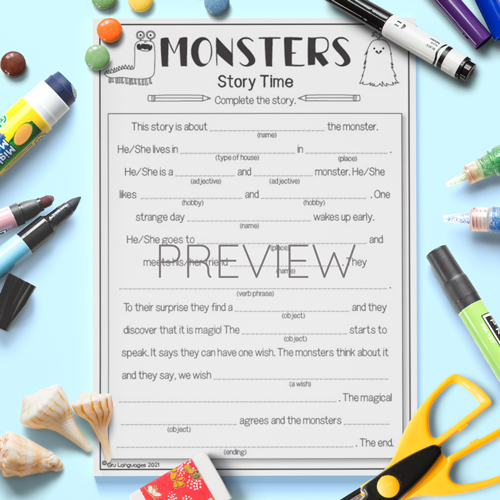 ESL English Kids Monster Gap Fill Story Worksheet