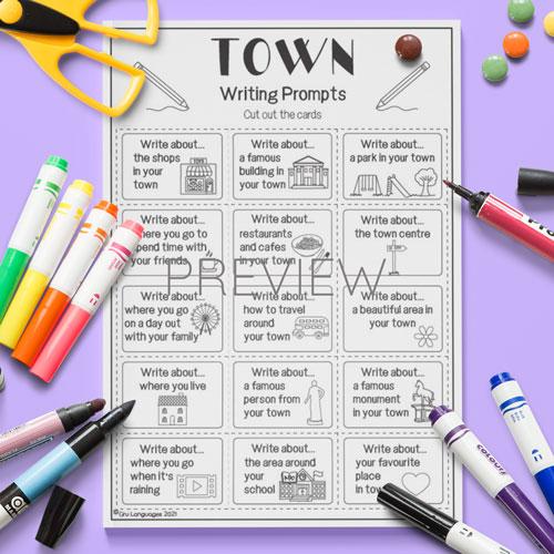 ESL English Kids Town Writing Prompts Worksheet