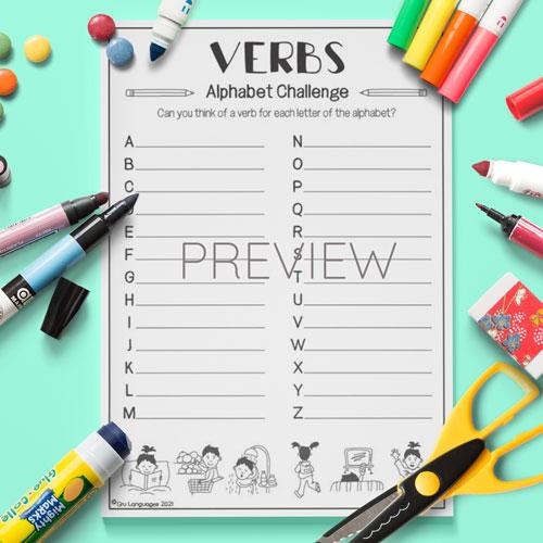 ESL English Kids Verbs Alphabet Challenge Activity